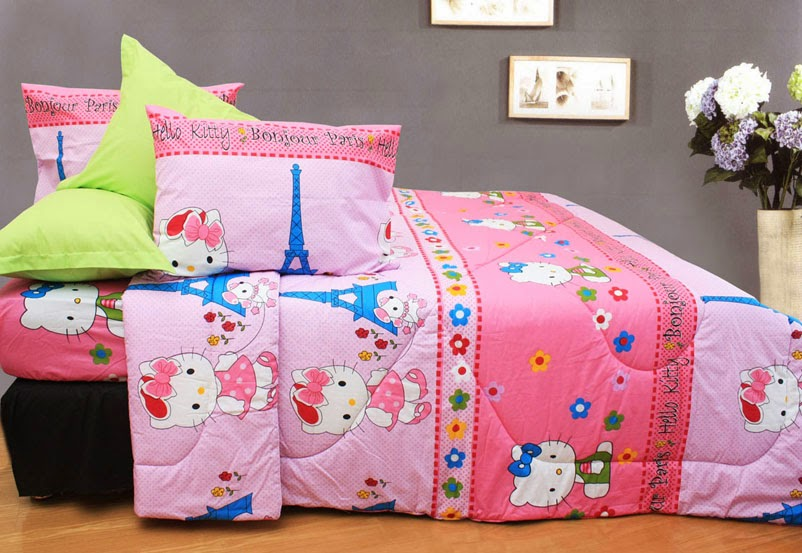 Sprei Anak Motif Hello Kitty Paris
