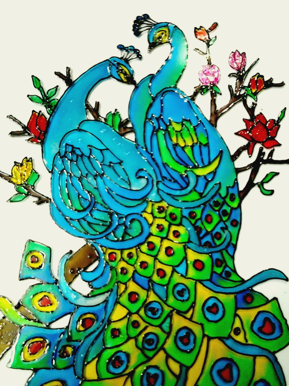 Peacock designs for glass painting - photo#7