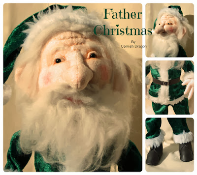 Cloth Art Doll, Father Christmas, Santa, Green, Yule