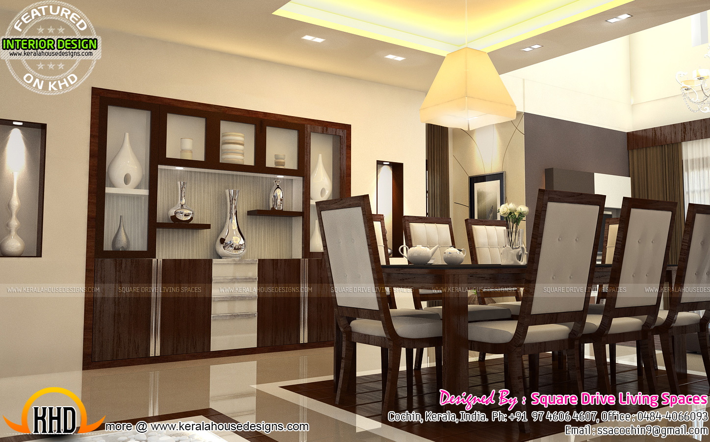 Interior designs of master bedroom living kitchen and for Kerala house interior arch design