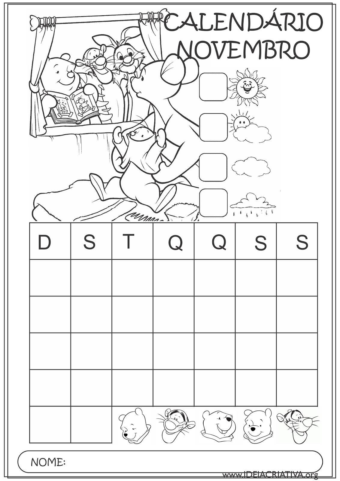 Calendários Novembro 2015 Turma do Pooh para Colorir Educação Infantil