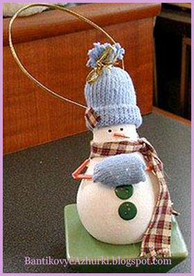 елочная игрушка из лампочки снеговик