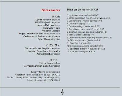 Mozart - Col. El País 250 Aniversario-(2006)-14-Gran misa y otras obras sacras-contenido