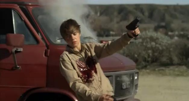 justin bieber getting shot with a gun. Justin Bieber received