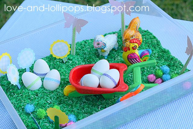 Love and Lollipops Easter garden Sensory box