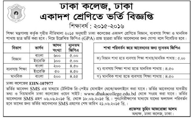SSC and Equivalent Admission Circular 2015-16 of Dhaka College