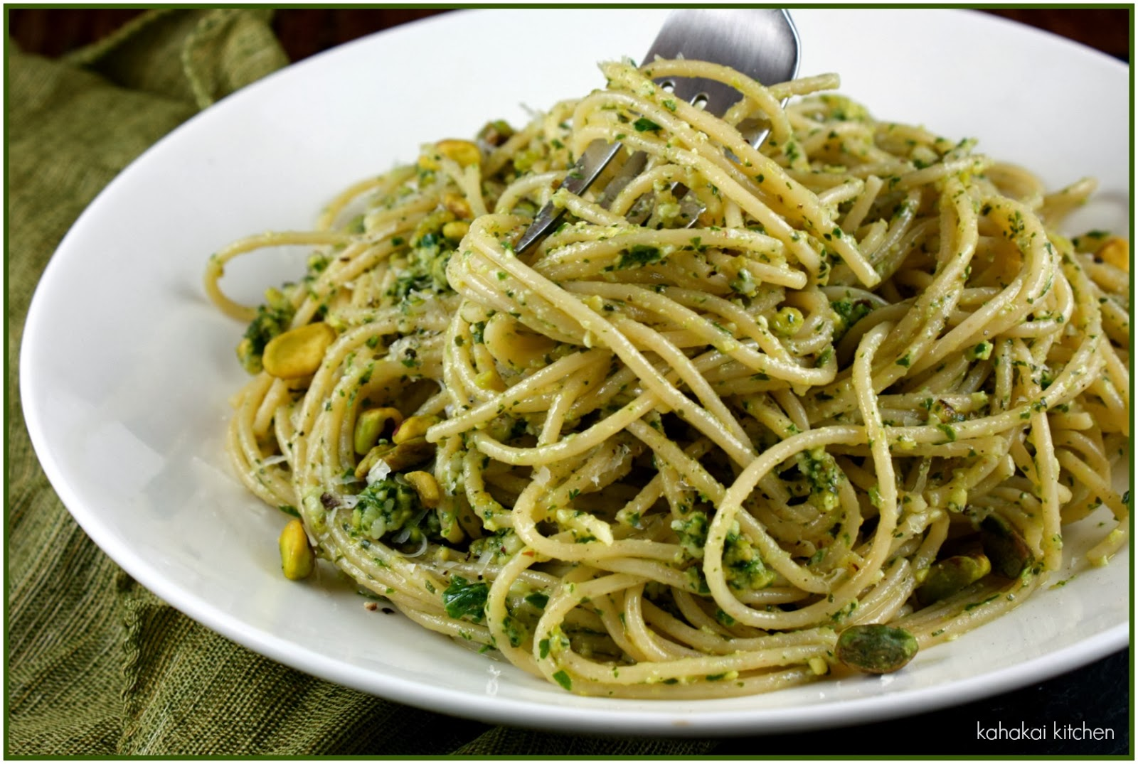 Kahakai Kitchen: Mint & Pistachio Pesto (In Pasta & On Flatbread)