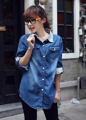 model baju atasan jeans import korea terbaru 2018