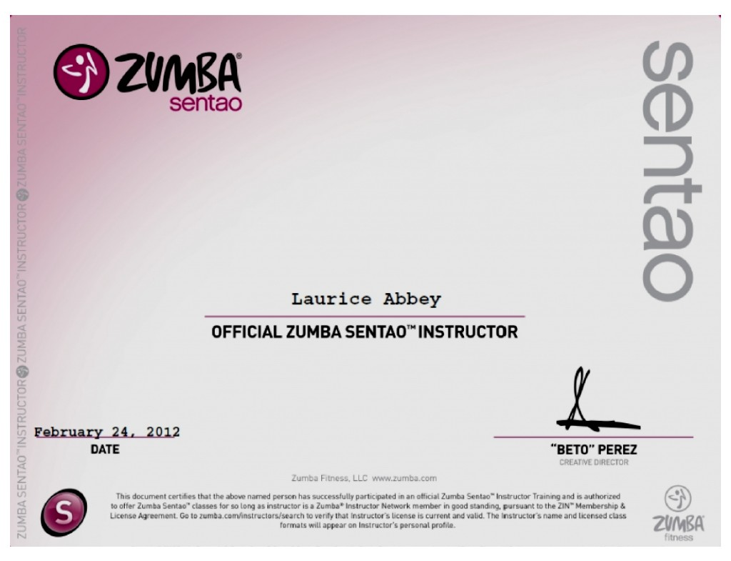 Examples Of Best Certificate Zumba Certification