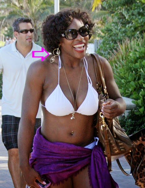 Serena Williams wearing a pair of Jenny Dayco earrings