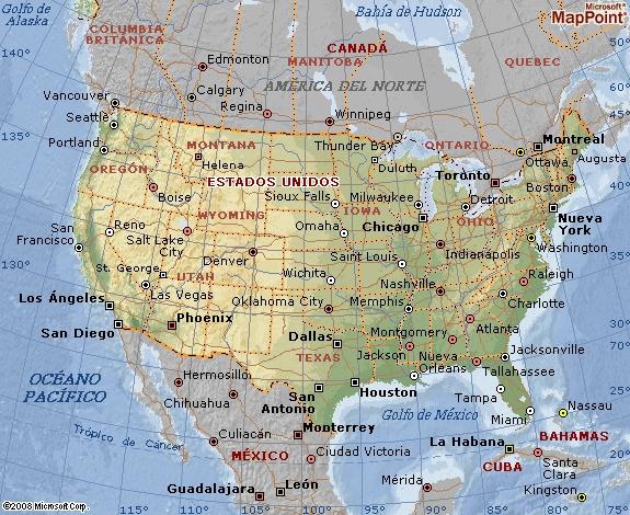 mapa geográfico de estados unidos