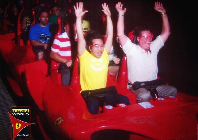 Ed and a new found friend at Formula Rossa Ferrari World Yas Island