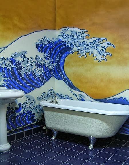cuarto de baño: mural decorativo y artístico; estilo estampa japonesa