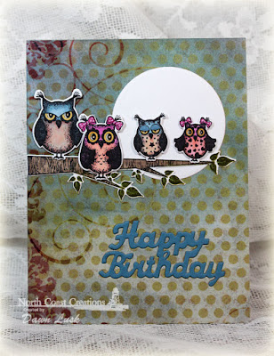 North Coast Creations Stamp set: Who Loves You?, North Coast Creations Custom Dies: Owl Family, Happy Birthday, Our Daily Bread Designs Rustic Beauty Paper Collection