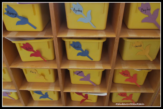 photo of: Individual Bins Labeled in Preschool (RoundUP via RainbowsWIthinReach) 