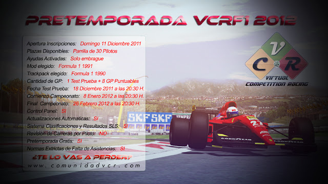 Cartel pretemporada 2012 rFactor VCR 2