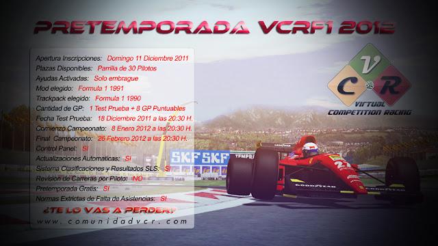Cartel pretemporada 2012 rFactor VCR 2