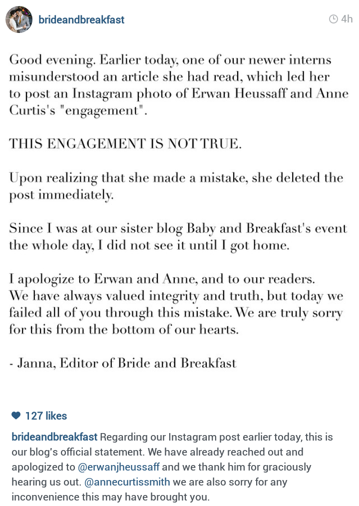 Anne Curtis and Erwan Heussaff's engagement news is fake
