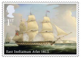 Stamp showing  East Indiaman Atlas 1813.