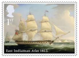 Stamp showing  East Indiaman Atlas 1813.