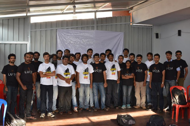 Pawan Kumar with participants of the film workshop