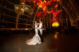 First dance of Bonnie and Manson at the Chihuly Garden and Glass Museum - Kent Buttars, Seattle Wedding Officiant