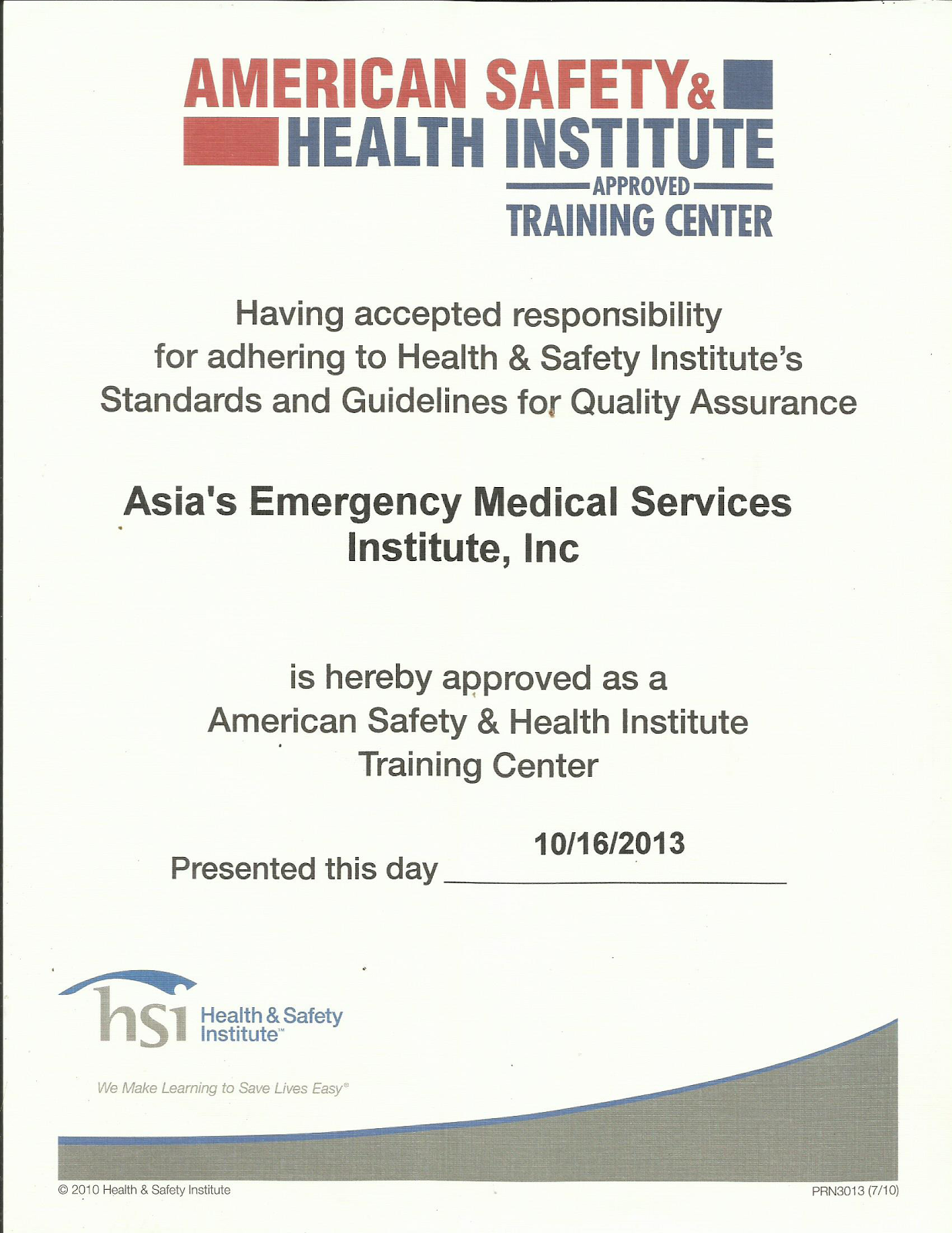 Asias emergency medical services instituteinc aems august 2014 ashi certificate for aems 1betcityfo Gallery