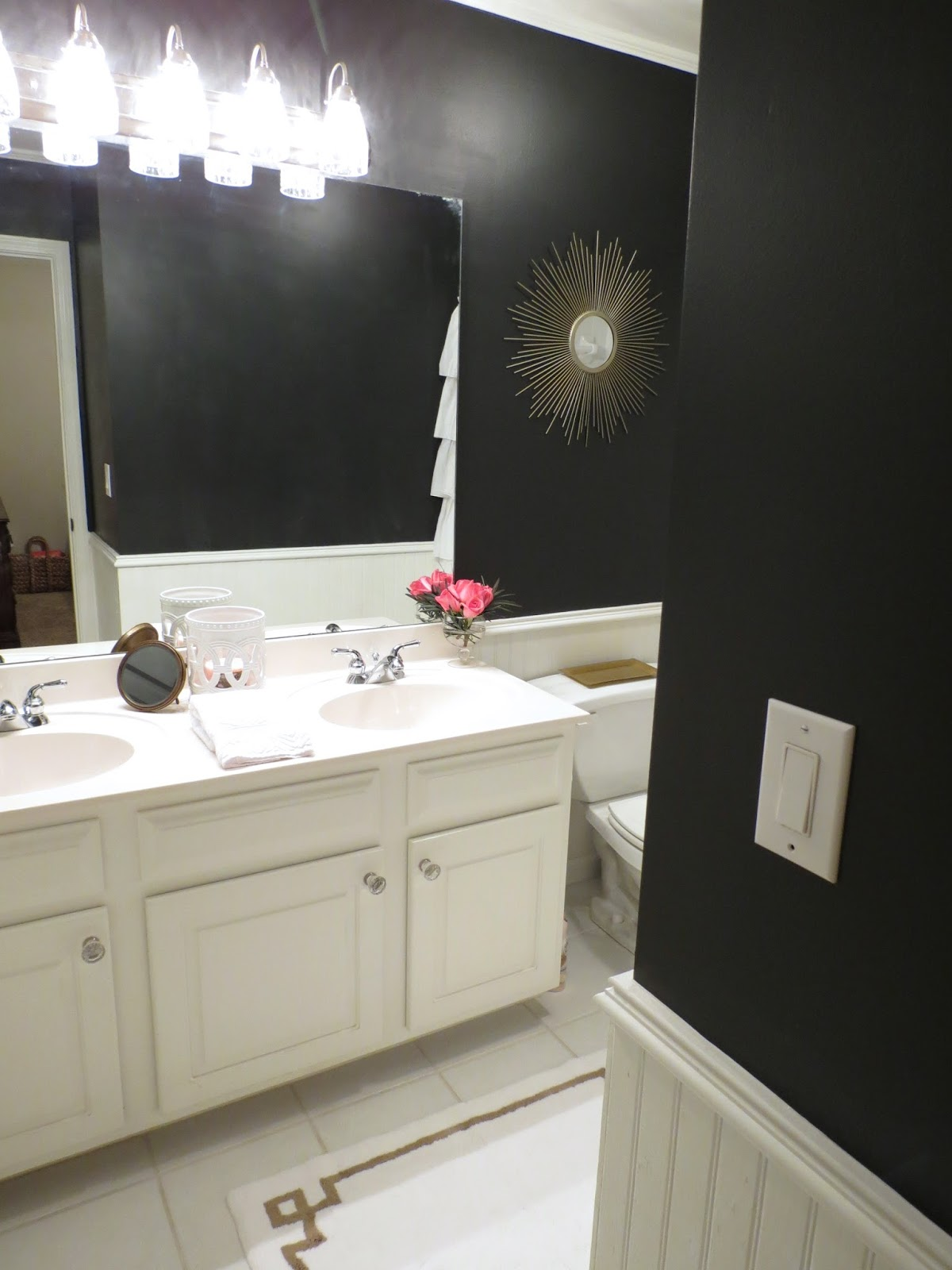 Bathroom White CabiBlack Trim