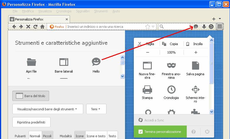 Aggiungere pulsante Hello nella barra strumenti di Firefox