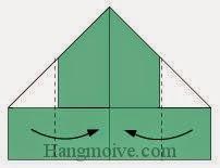 Bước 5: Gầp hai cạnh hai bên tờ giấy vào trong.