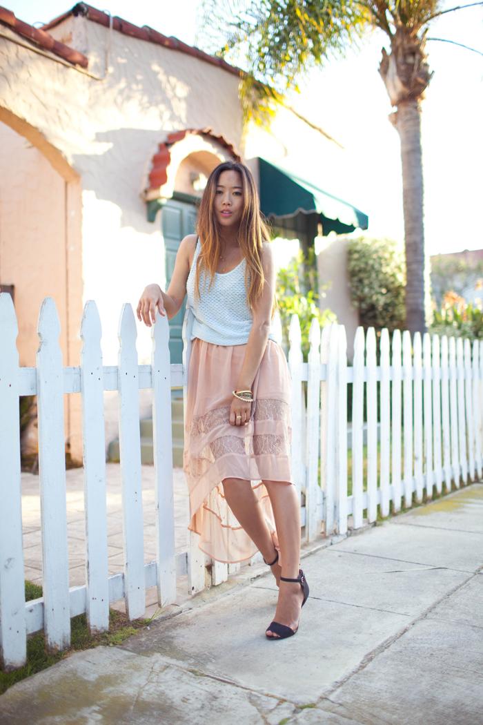 (Topshop Knit Tank, Lush Skirt c/o 2020Ave, Zara Sandals)