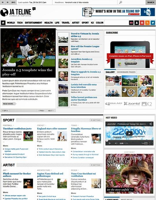 JA Teline IV 2.5.4 – Joomla Magazine / News Template