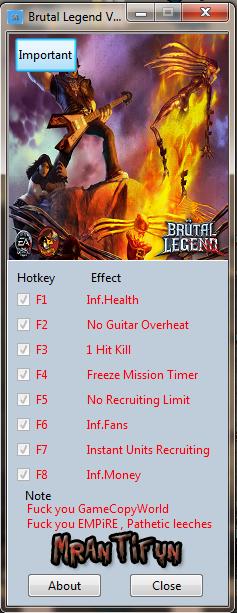 Brutal Legend V1.00 Trainer +8 MrAntiFun