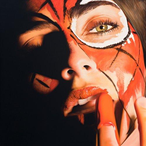 jkb fletcher pinturas hiper realistas mulheres em close pintadas cores super heróis quadrinhos