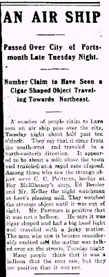 People Claim To have Seen An Air Ship Pass Over The City 6-7-1901