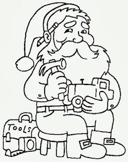 desenho de papai noel fabricando brinquedos