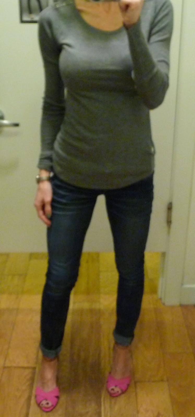 Express button shoulder tee, zelda jean leggings, t shirt