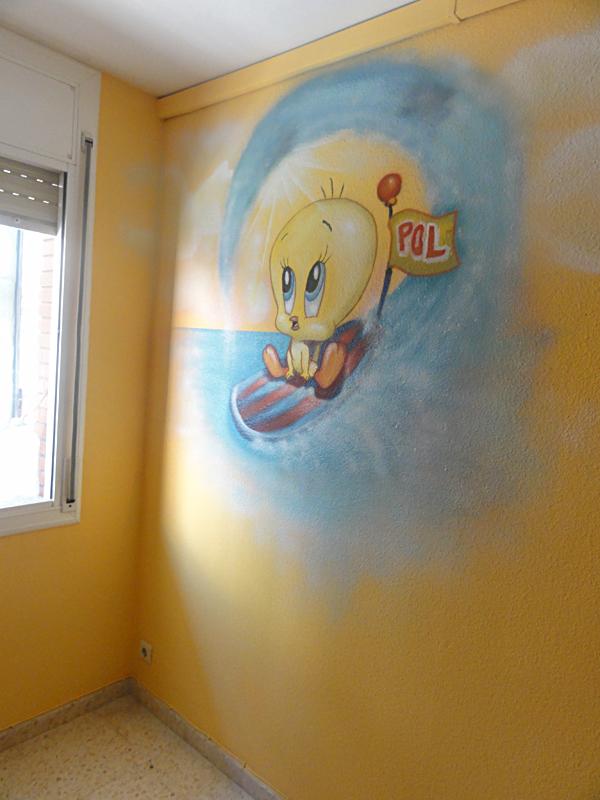 Berok Graffiti profesional: Mural de Piolin y Silvestre bebes