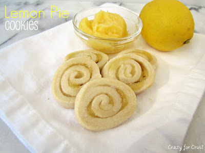 spiral sugar cookies with lemon curd on white napkin with lemon curd behind and lemon and words on photo