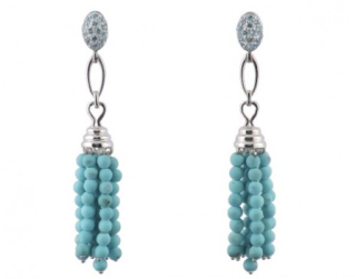 Turquoise Tassel Bead Earrings