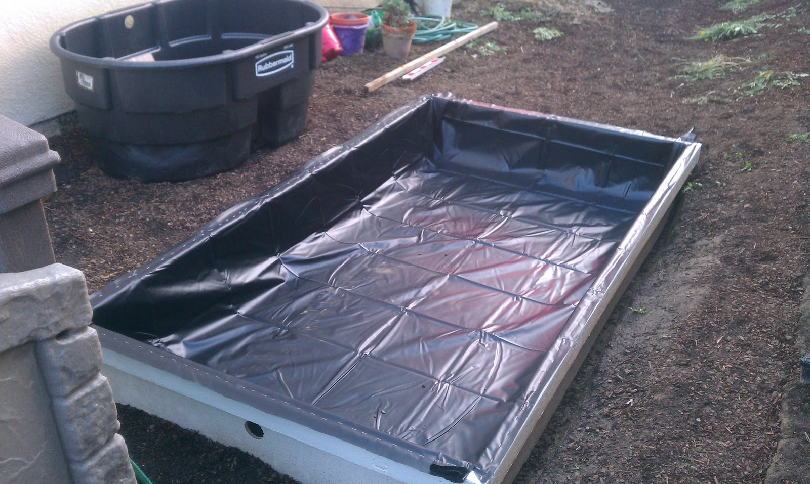 the aquaponics project the pond liner is in