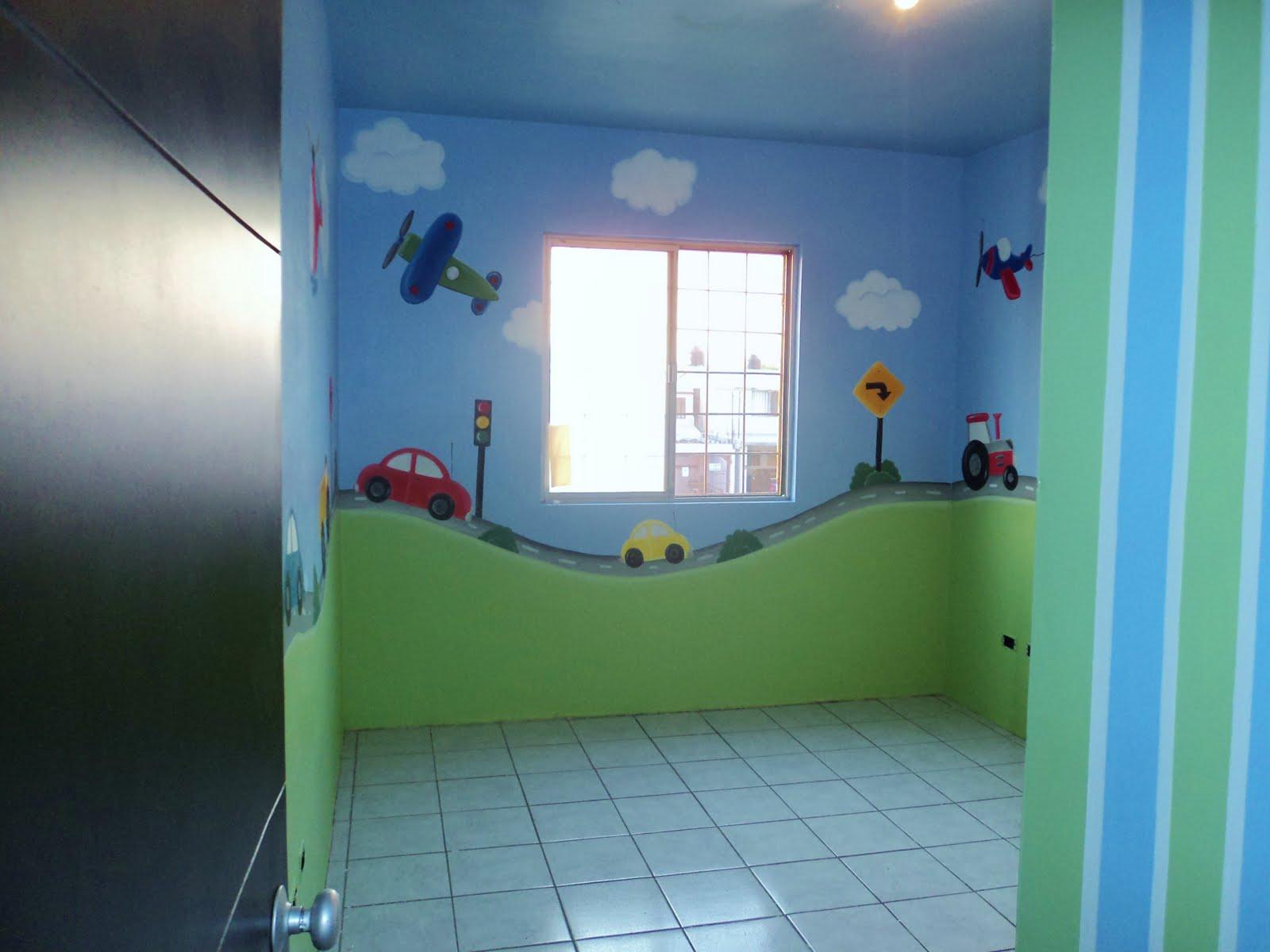 Murales infantiles carritos recamara de nicolas for Recamaras infantiles de nino