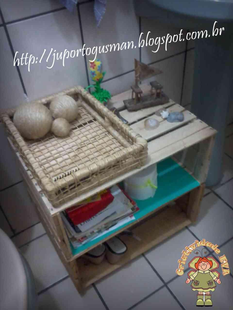 CRIATIVIDADE EVA Reciclagem Coletiva  Caixotes de Feira -> Banheiro Decorado Com Caixote De Feira