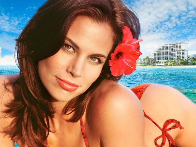 Brooke Burns in red swimsuit