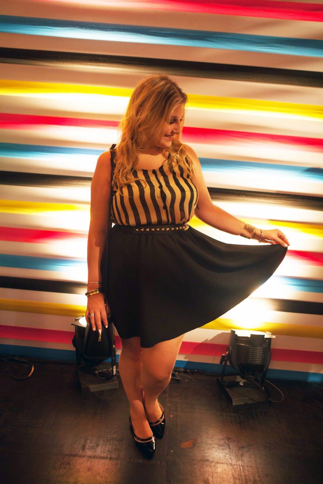 look do dia, blogueira de moda, acho tendencia, giovana quaglio, saia rodada, blusa listrada, spfw, sao paulo fashion week, michael kors, forever 21, zara