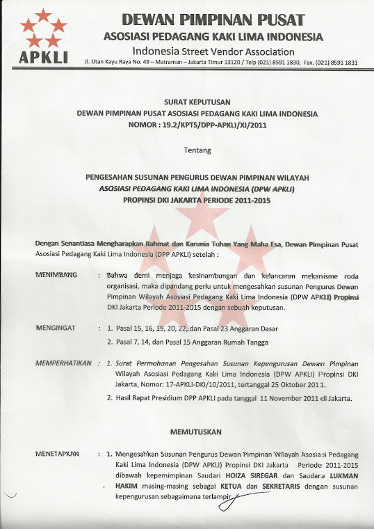 Surat Keputusan DPP APKLI tentang Pengesahan Susunan Pengurus Dewan Pimpinan Wilayah Asosiasi Pedag