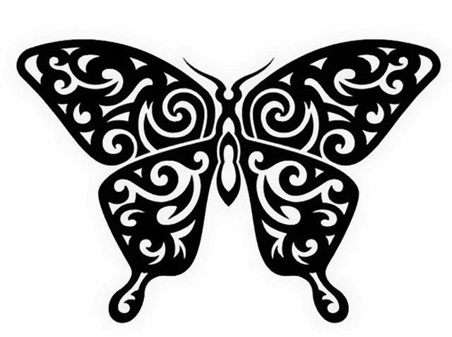 Butterfly tribal tattoo stencil