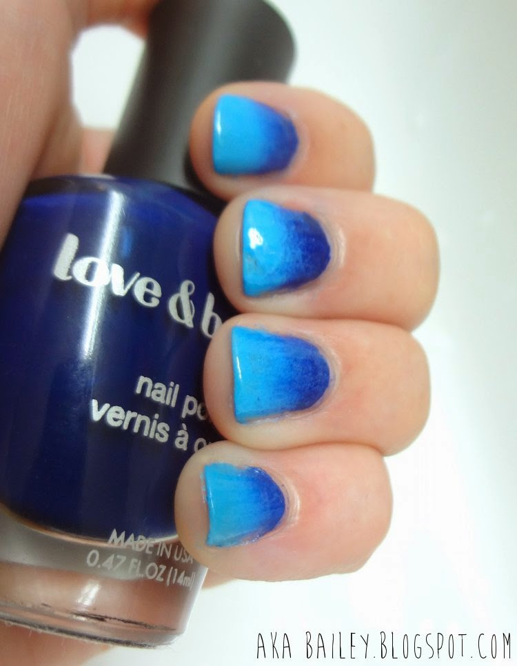 Blue ombre nails Forever21 Love & Beauty navy polish