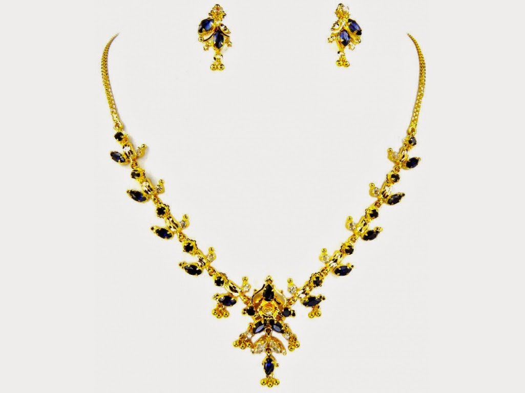 Jewellery Designs Simple Gold Jewellery Necklace Set With Black Stones