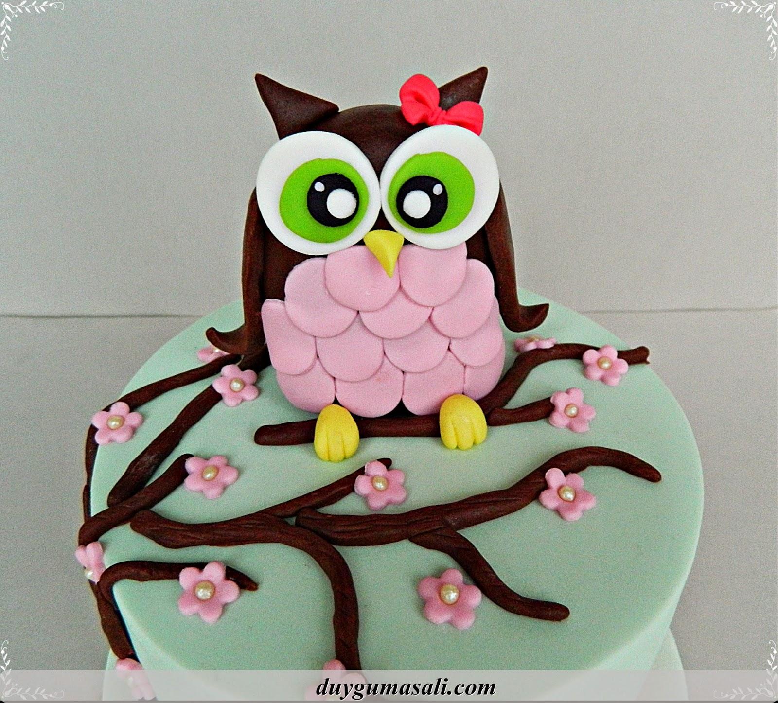 baykuş doğum günü pasta